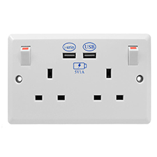 2 Gang Wall Switch Socket 2x USB Charger